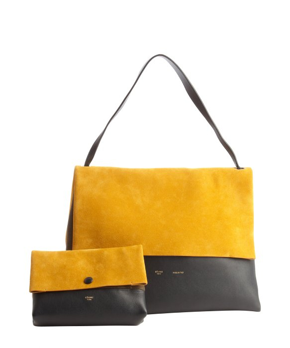 C��line Goldenrod Suede and Navy Leather All Soft Shoulder Bag in ...