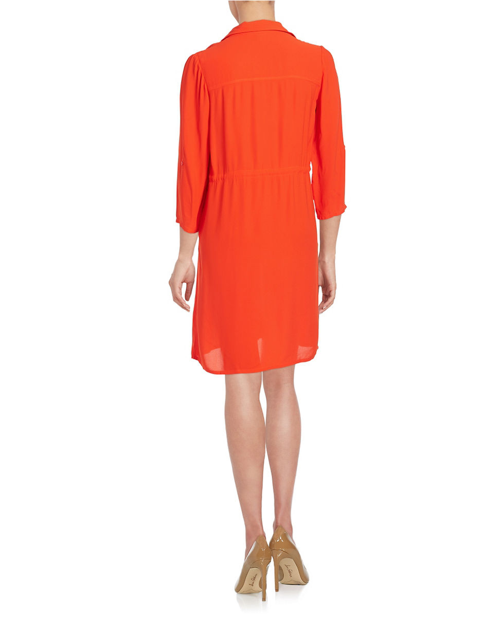 French connection crepe drawstring shirt dress in red lyst for French connection shirt dress