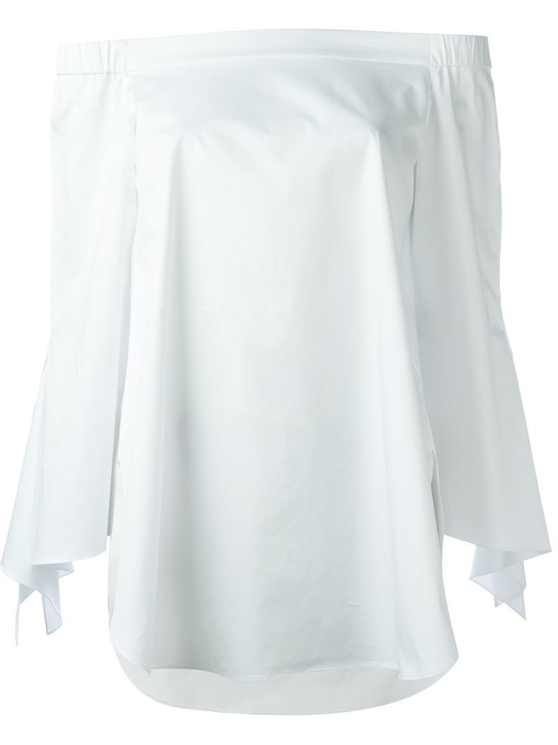 170a1fc183bd54 Lyst - Tibi Ruffle Sleeve Off-shoulder Blouse in White