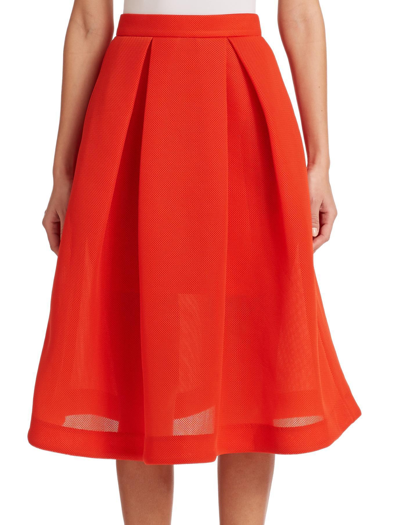 nicholas pleated pique a line skirt in orange blood