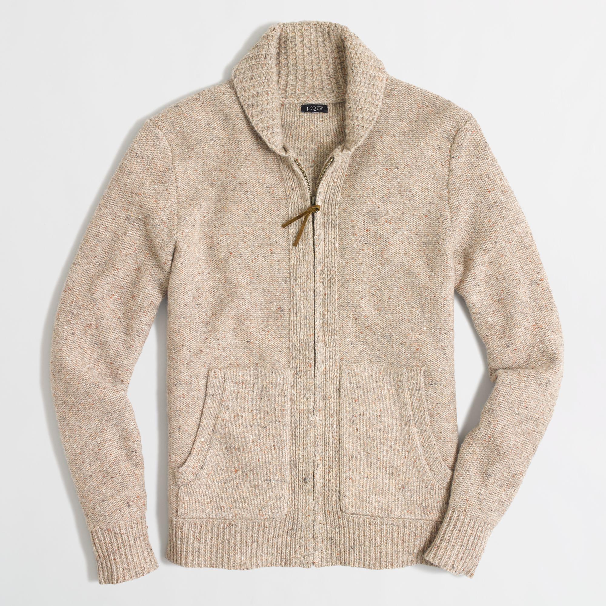J.crew Factory Donegal Full-zip Cardigan in Natural for Men | Lyst