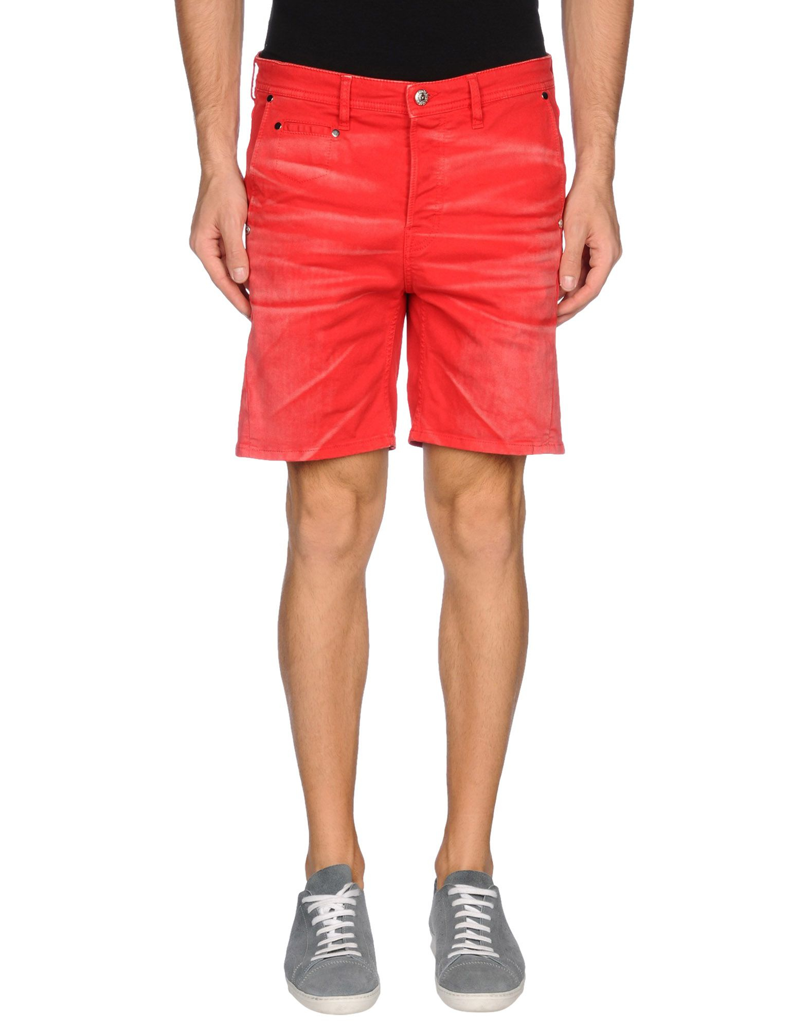 just cavalli denim bermudas in red for men lyst. Black Bedroom Furniture Sets. Home Design Ideas