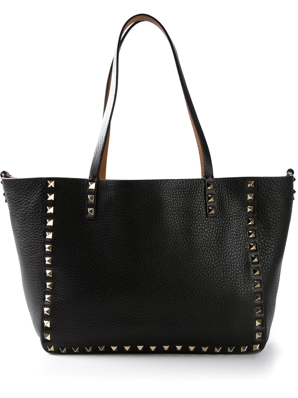 Lyst Valentino Reversible Studded Mini Tote Bag In Black
