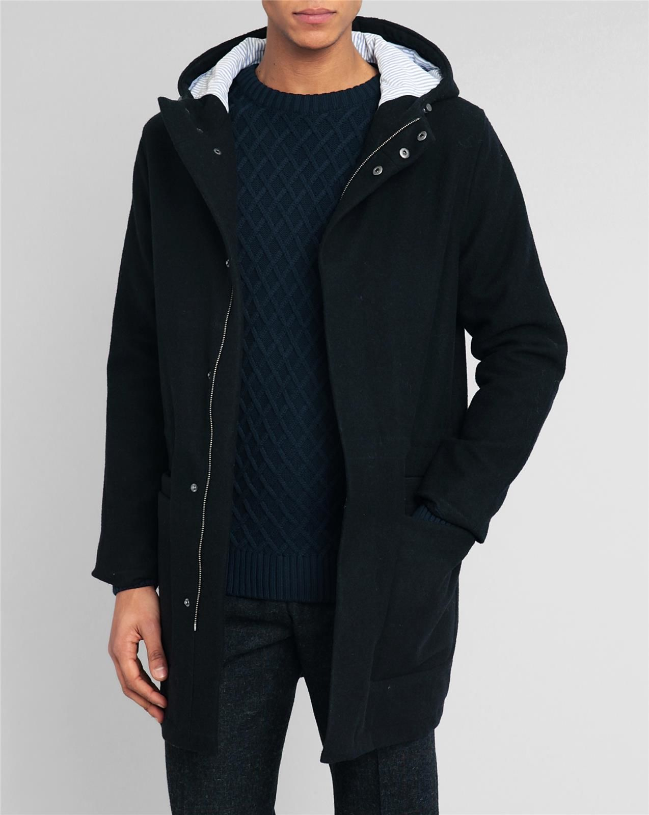 knowledge cotton apparel wool navy jacket with hood in blue for men lyst. Black Bedroom Furniture Sets. Home Design Ideas
