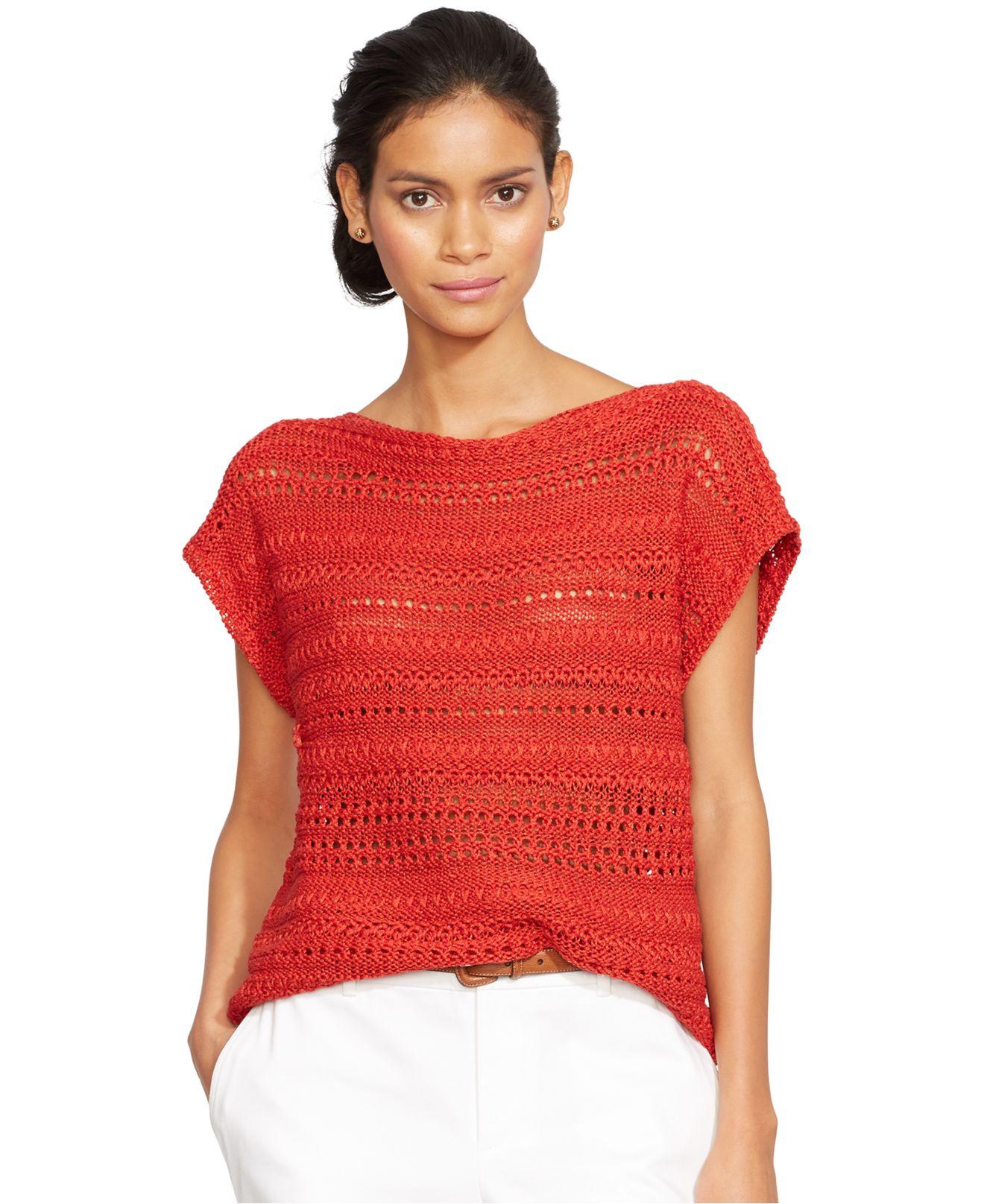 Lauren by ralph lauren Petite Open-Knit Short-Sleeve Sweater in ...