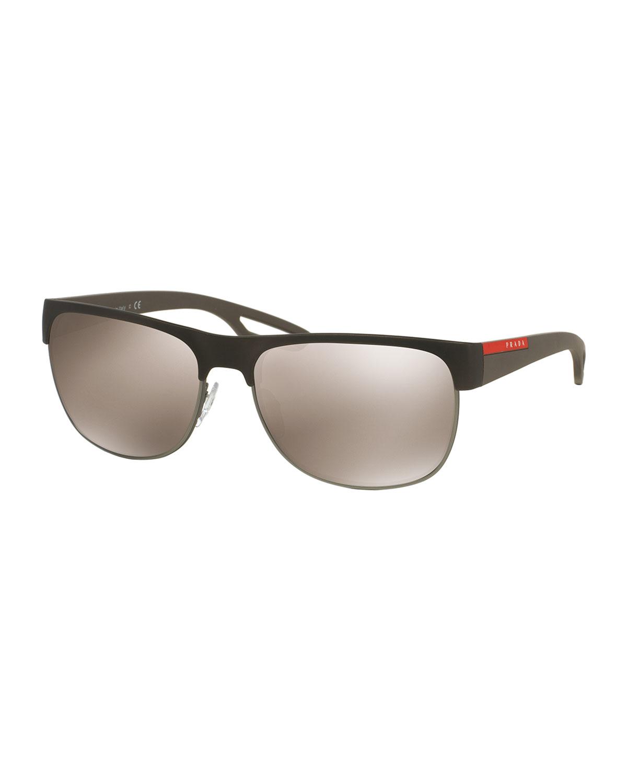 Prada Half Frame Glasses : Prada Rectangular Half-rimmed Sunglasses in Brown for Men ...