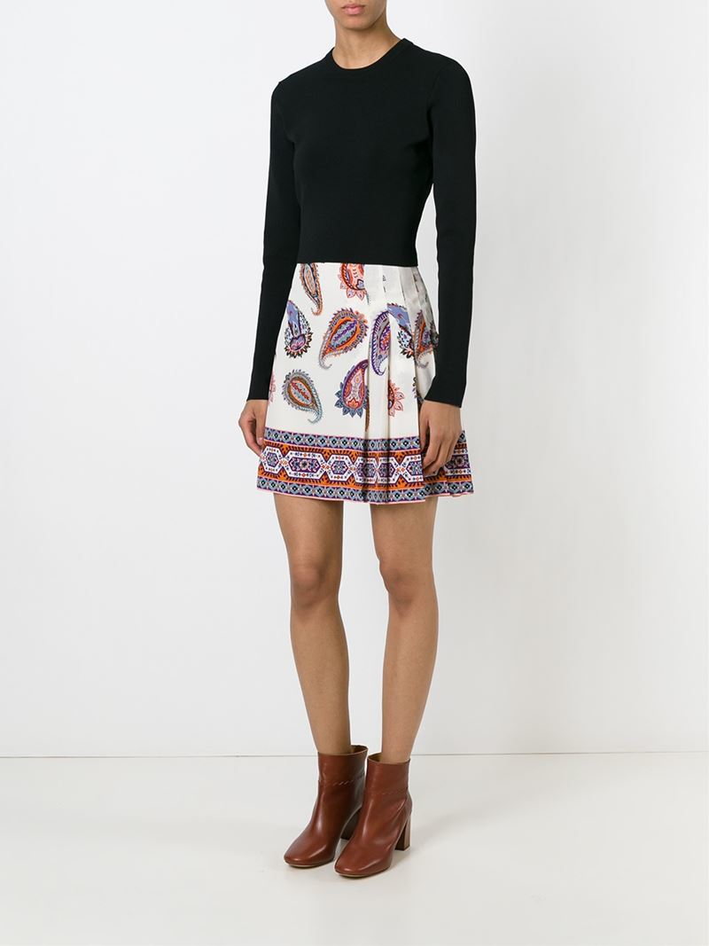 Tory burch paisley print skirt in white lyst for Tory burch fashion island