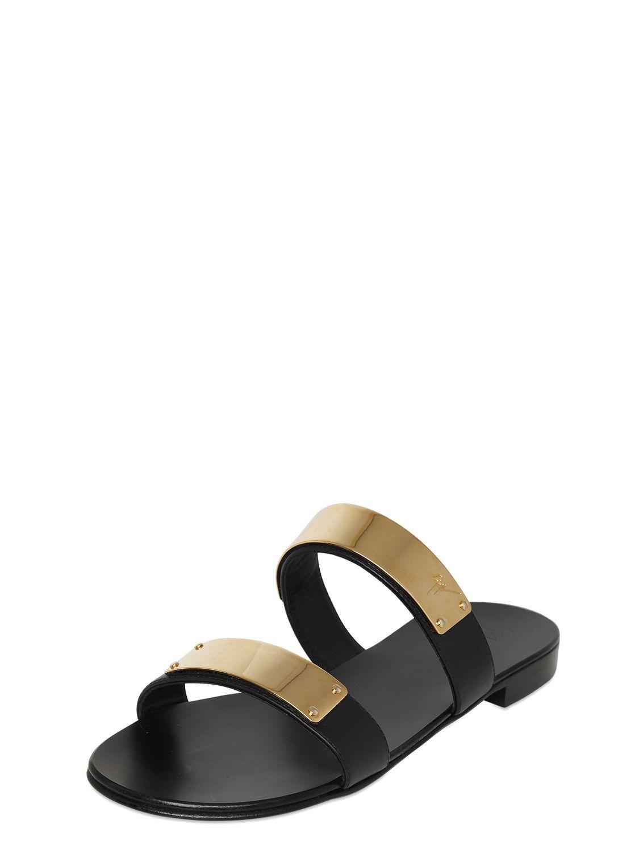c5a125791 Giuseppe Zanotti Metal Plaque Leather Slide Sandals in Black for Men ...