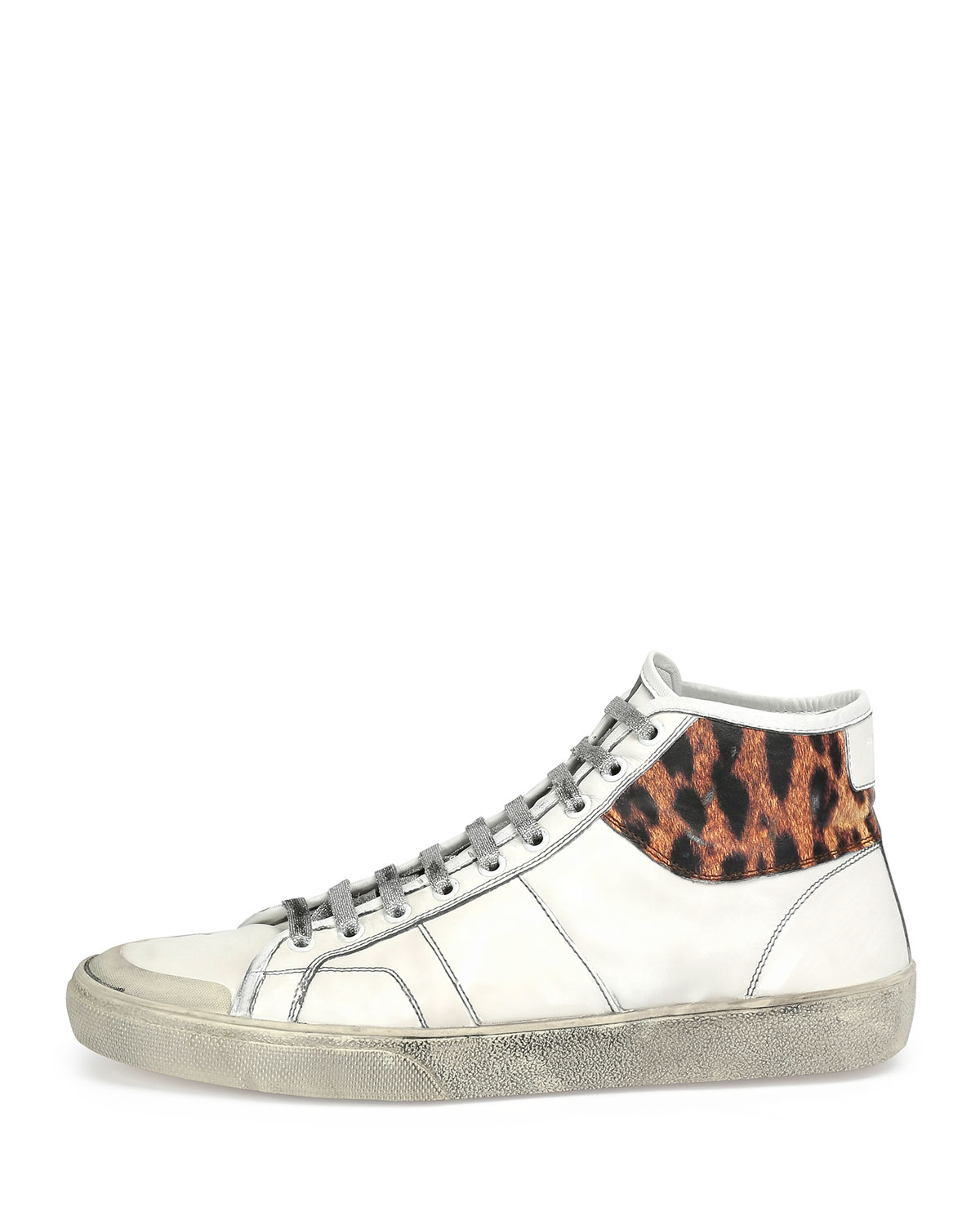 637bbb665712 Lyst - Saint Laurent Leopard-trim Leather High-top Sneaker in White ...