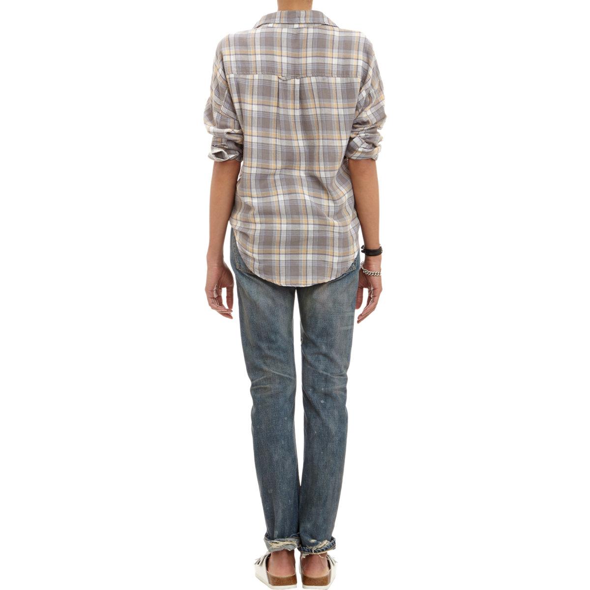 Nsf clothing plaid flannel shirt in gray lyst for Grey plaid shirt womens