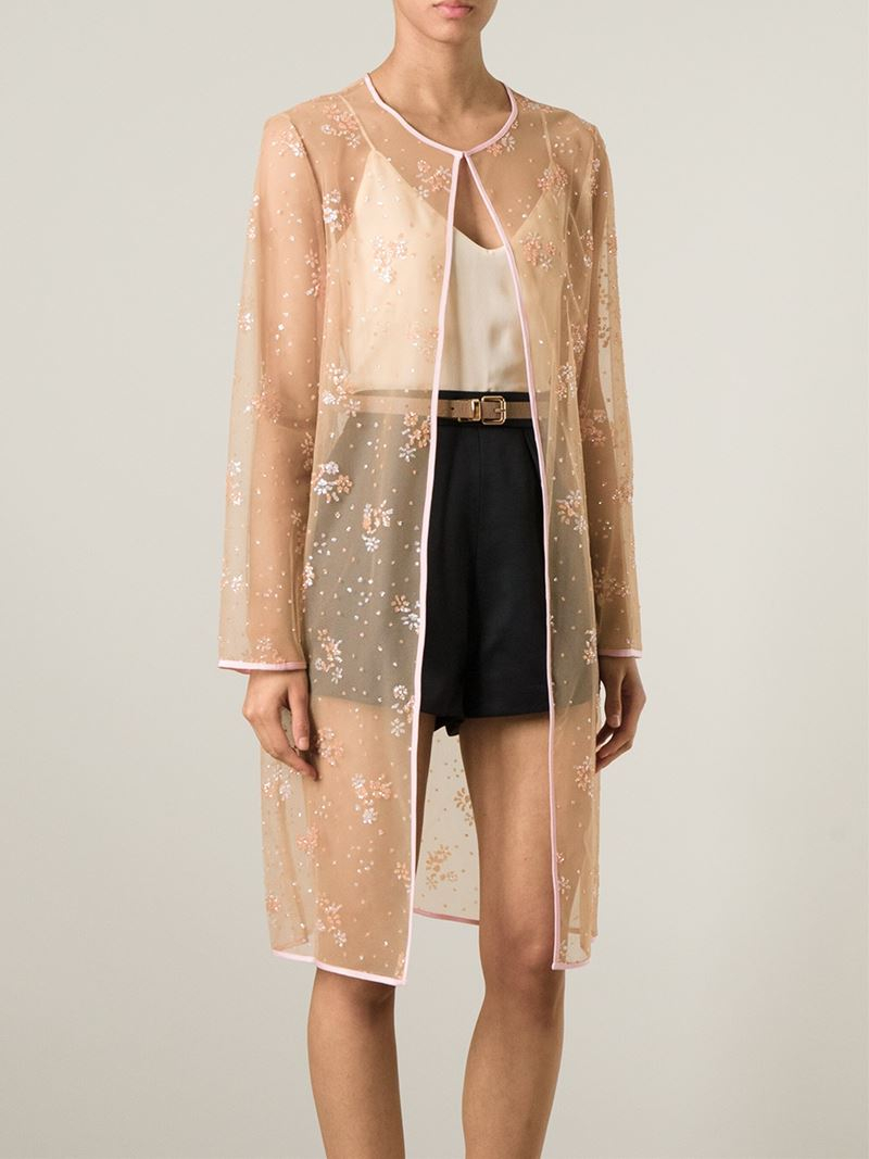 Mary katrantzou Sheer Glitter Cardigan in Natural | Lyst