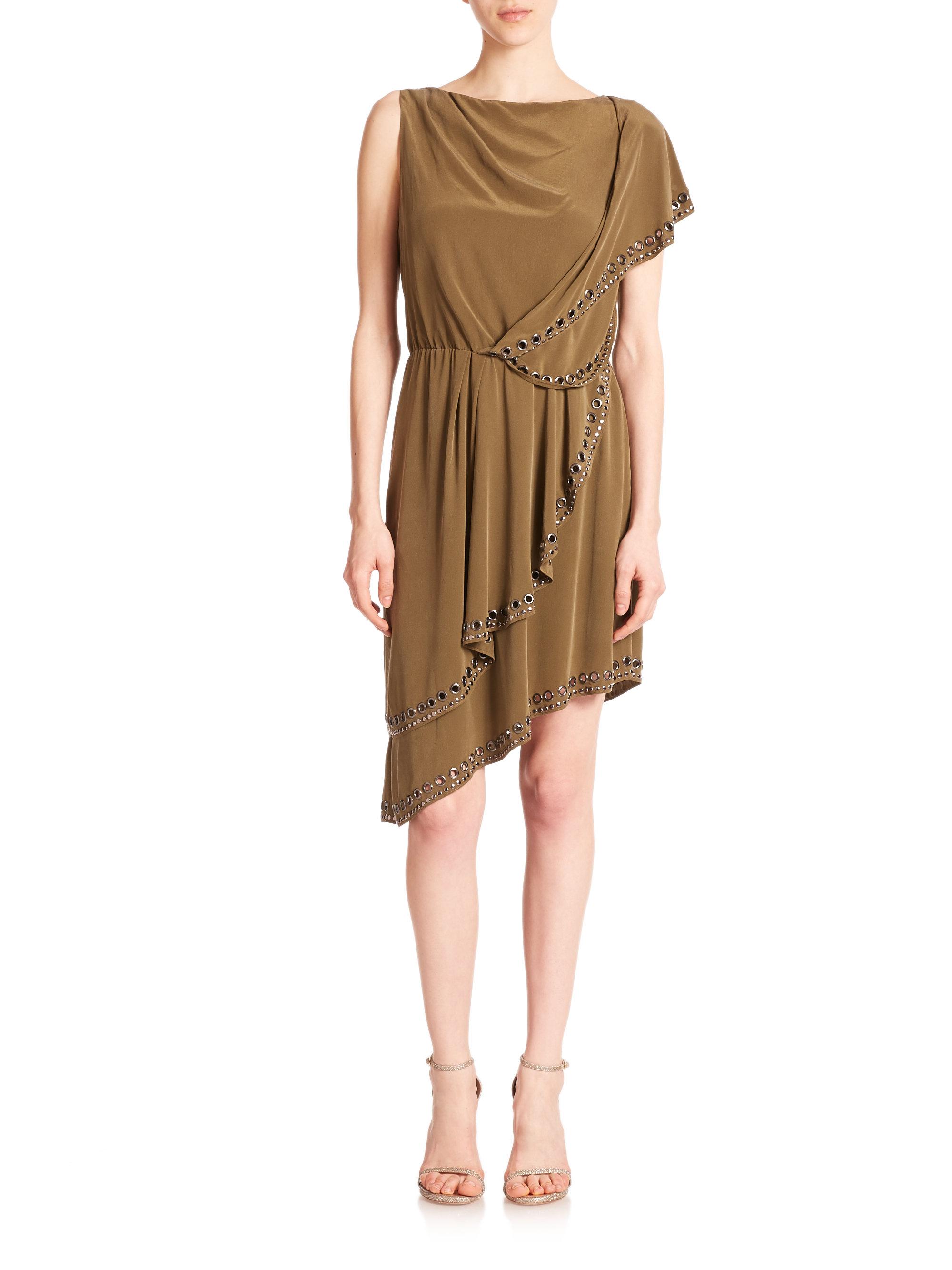 Lyst - Haute Hippie Grommet-studded Asymmetrical Silk . b5b06c1b4