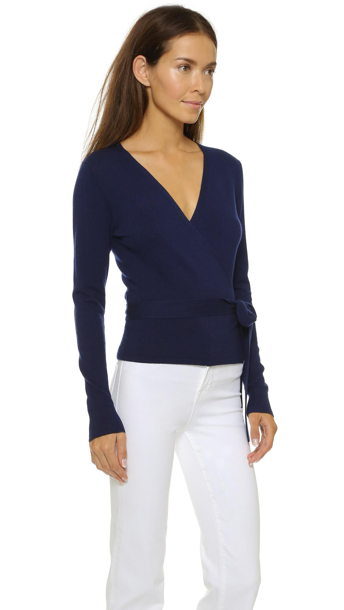 Diane von furstenberg Ballerina Wrap Sweater - Midnight in Blue | Lyst