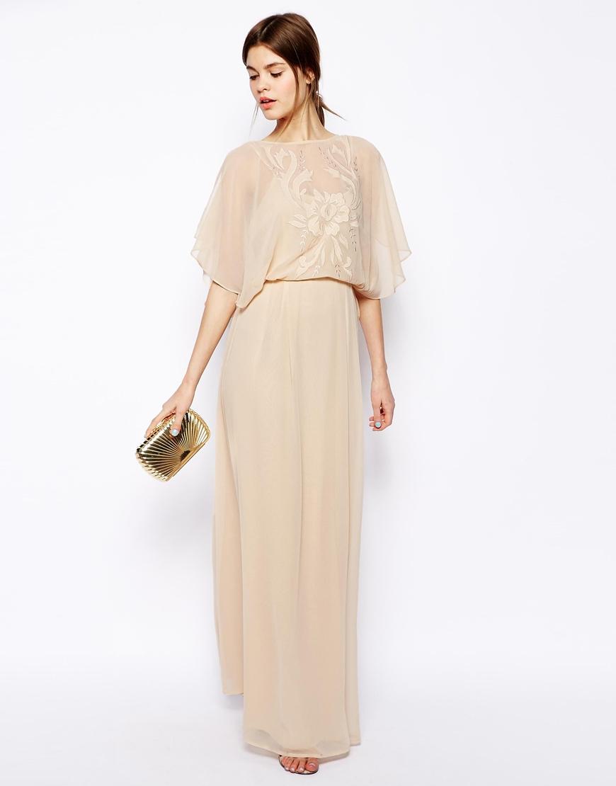 Asos Applique Flutter Sleeve Maxi Dress in Natural | Lyst