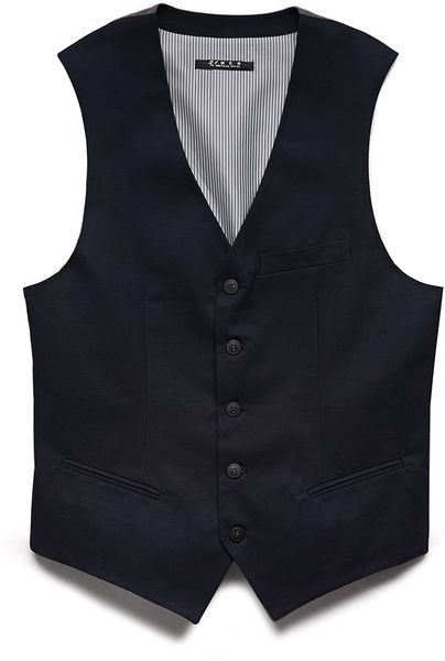 Forever 21 Casual Twill Vest In Blue For Men Navy Lyst