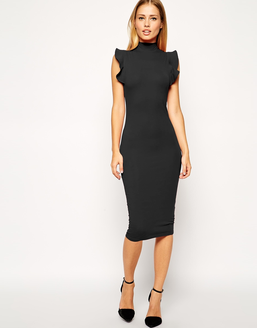 580187976e4c ASOS Midi Bodycon Dress With High Neck And Frill Sleeve in Black - Lyst