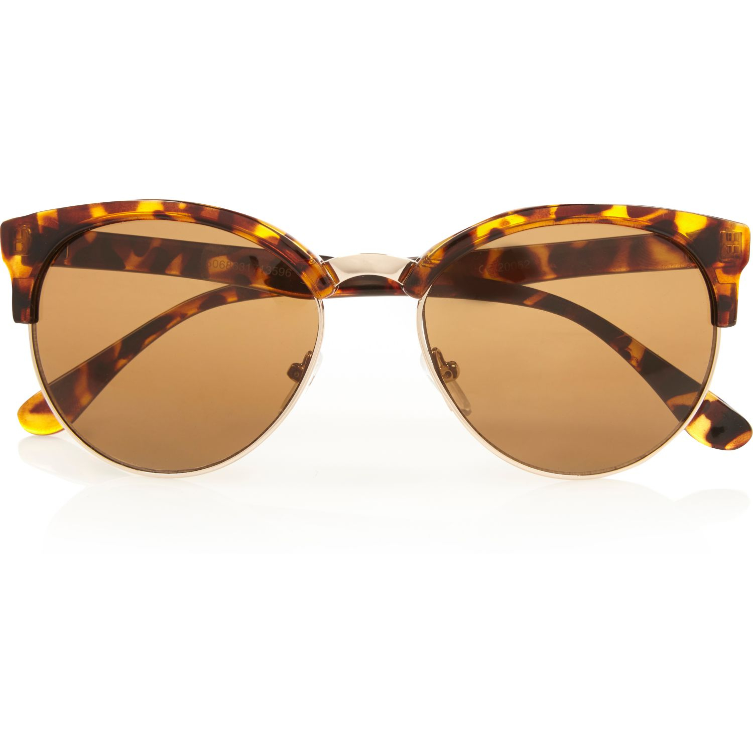 Tortoise Shell Glasses Half Frame : River island Brown Tortoise Half Frame Retro Sunglasses in ...