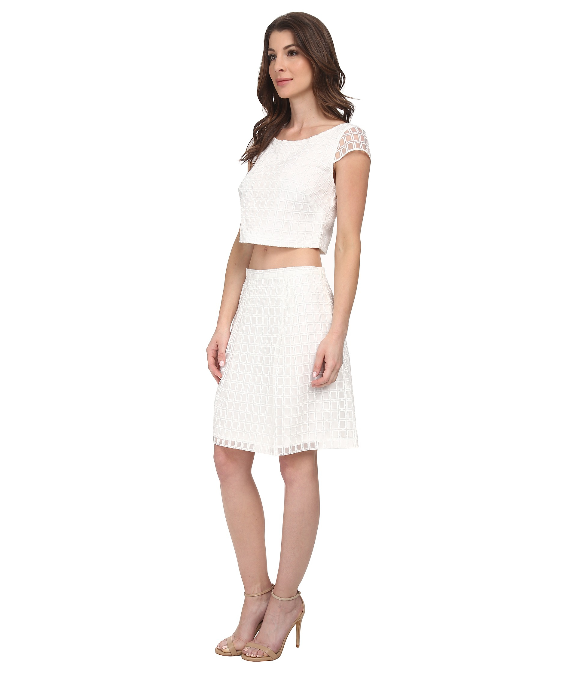 1e781ece5629c Jessica Simpson Two-piece Fit And Flare Dress in White - Lyst