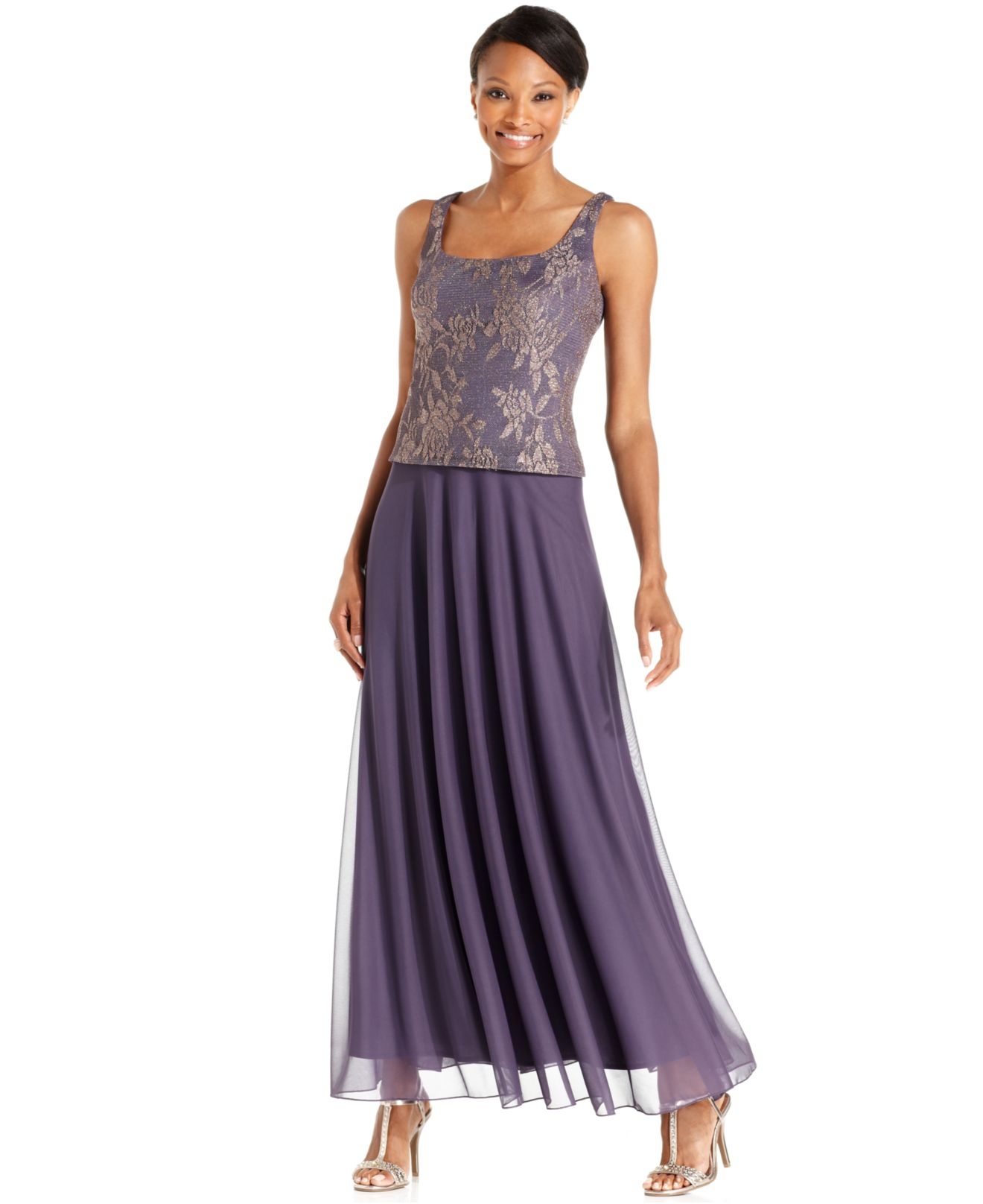 Lyst Patra Sleeveless Metallic Lace Gown And Jacket In Purple