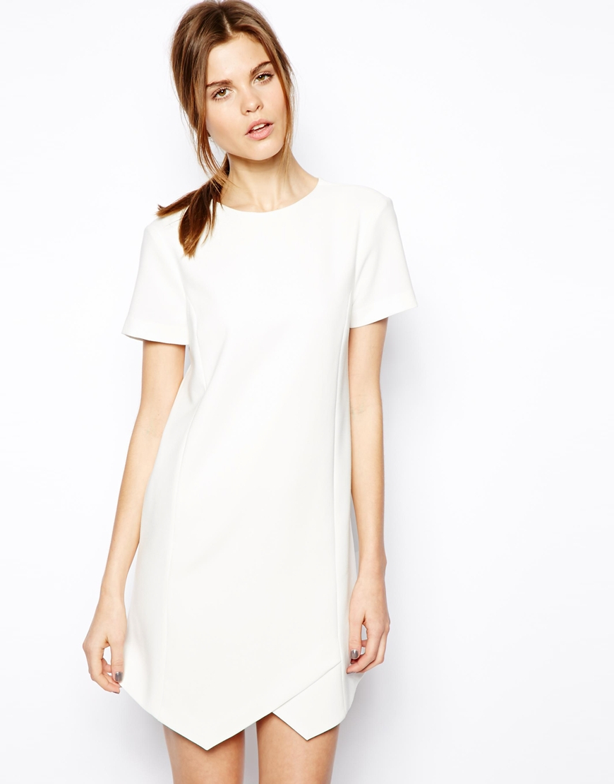 Asos clean shift dress in white lyst for How to clean white dress shirts