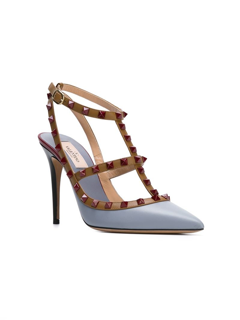 lyst valentino rockstud cage pumps in blue. Black Bedroom Furniture Sets. Home Design Ideas