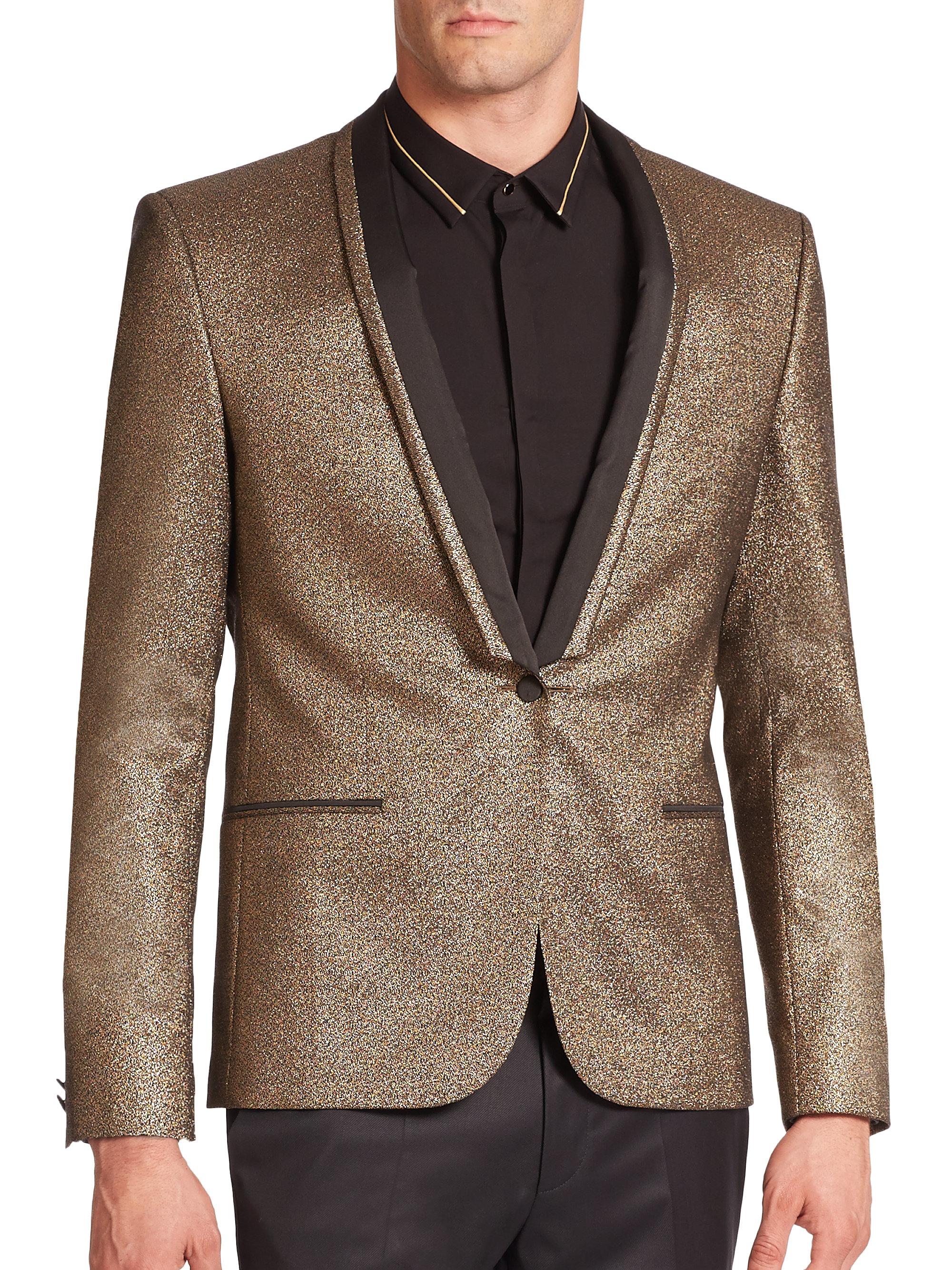 Lyst Boss Adisson Glitter Tuxedo Jacket In Metallic For Men