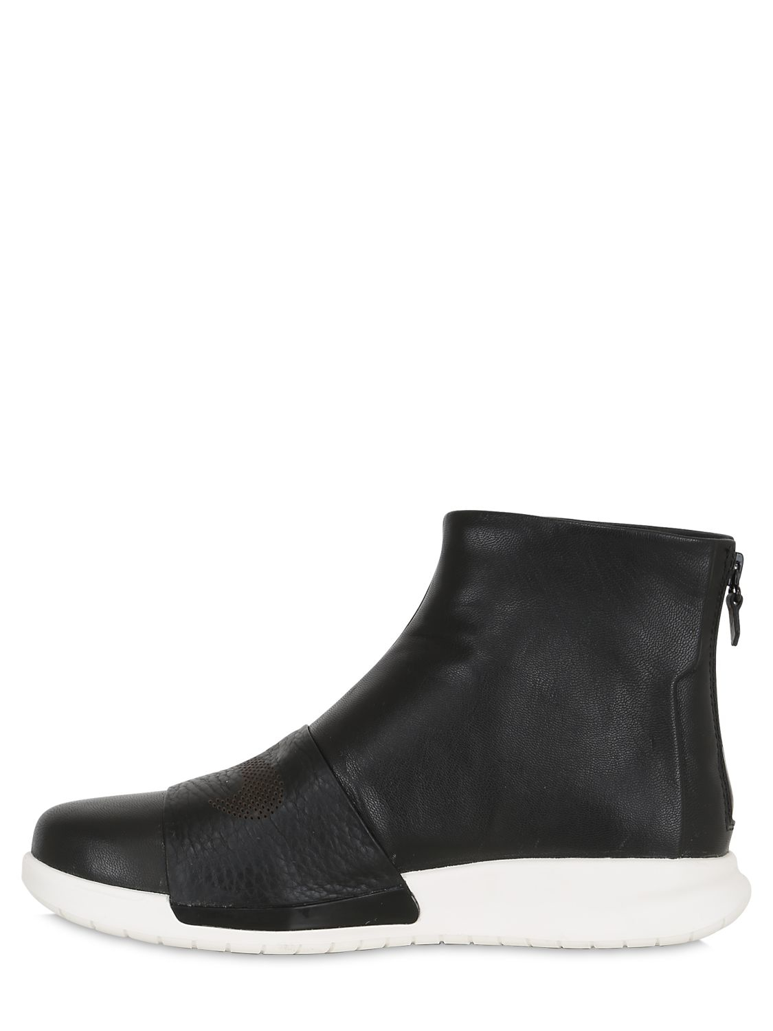 nike benassi leather sneaker boots in black for lyst