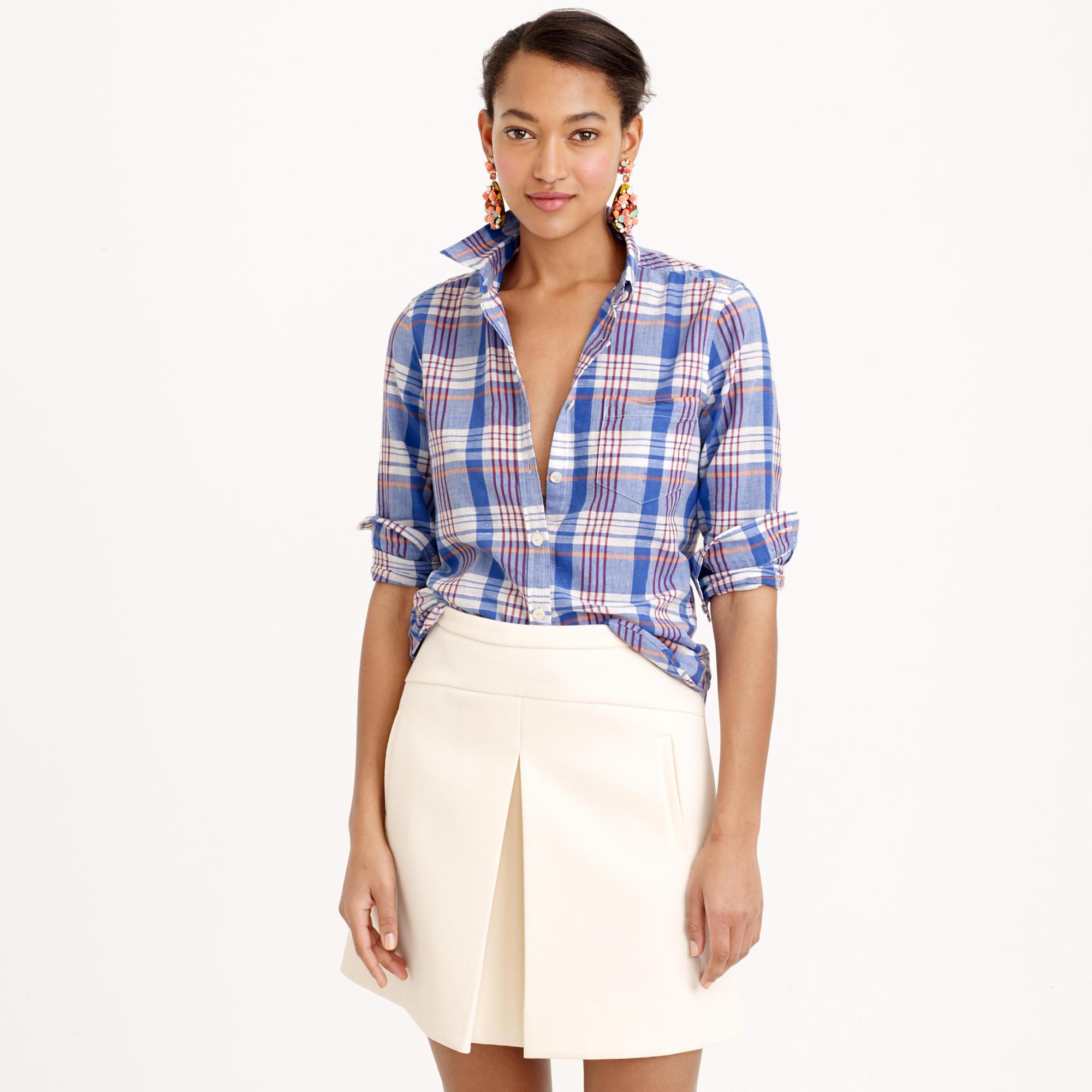 Textured cotton shirt in orange plaid in blue lyst for Lightweight plaid shirt womens
