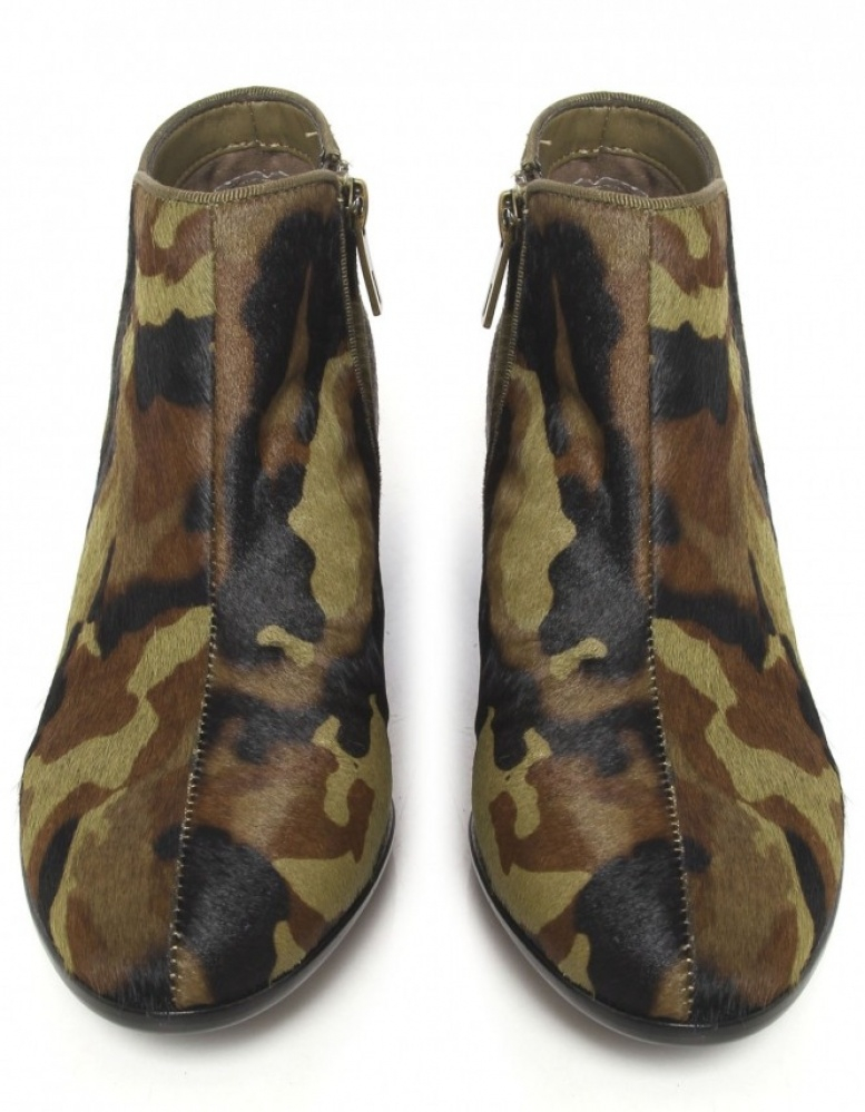 c37b53703643e Lyst - Sam Edelman Camouflage Calf Fur Ankle Boots in Green