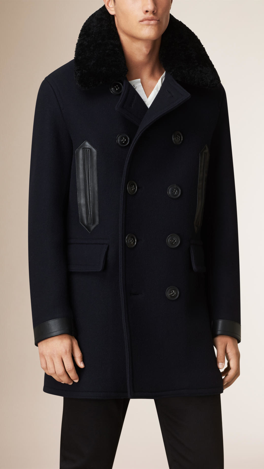 Burberry Shearling Collar Wool Blend Pea Coat in Blue for Men | Lyst