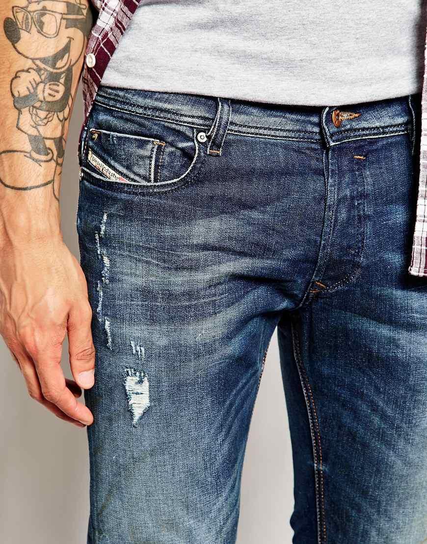 ba557d77 DIESEL Jeans Sleenker Skinny Fit 833F Mid Distress Wash in Blue for ...