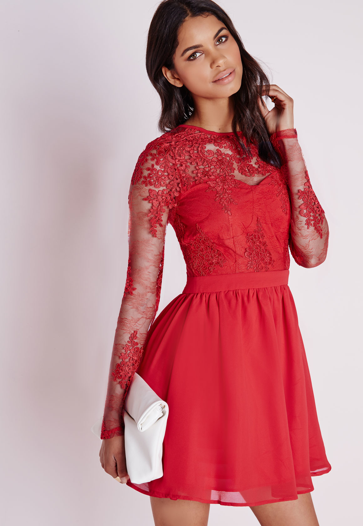 Missguided Premium Lace Long Sleeve Skater Dress Red in ...