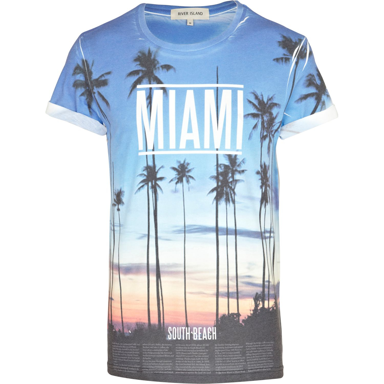 River island blue miami sunset print tshirt in blue for for Miami t shirt printing