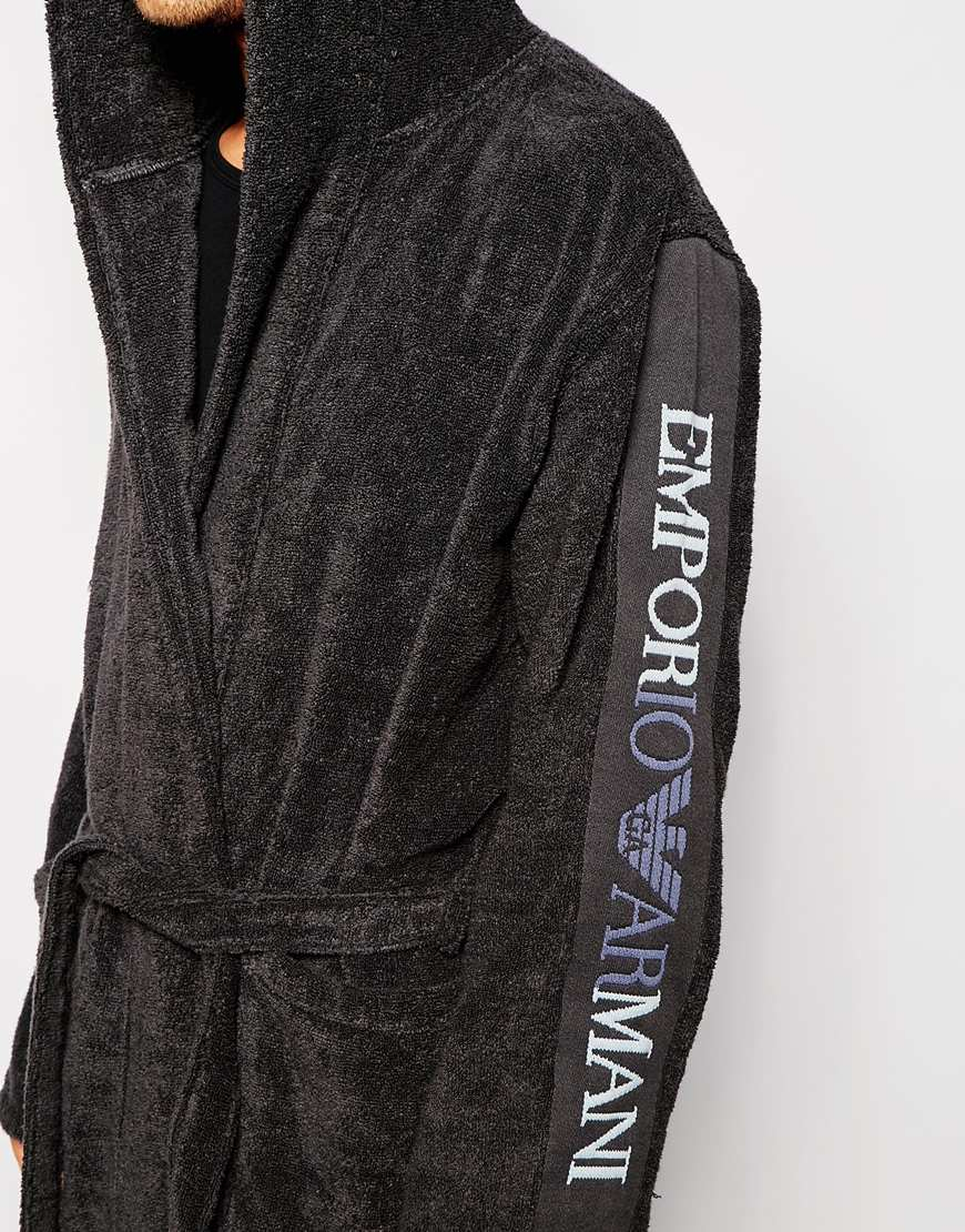Lyst Emporio Armani Logo Dressing Gown In Gray For Men