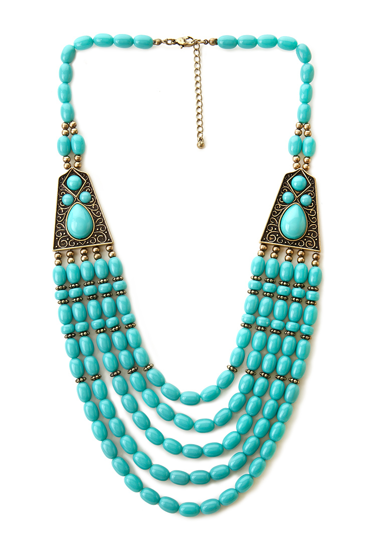 Forever 21 Boho Beaded Necklace In Blue Lyst