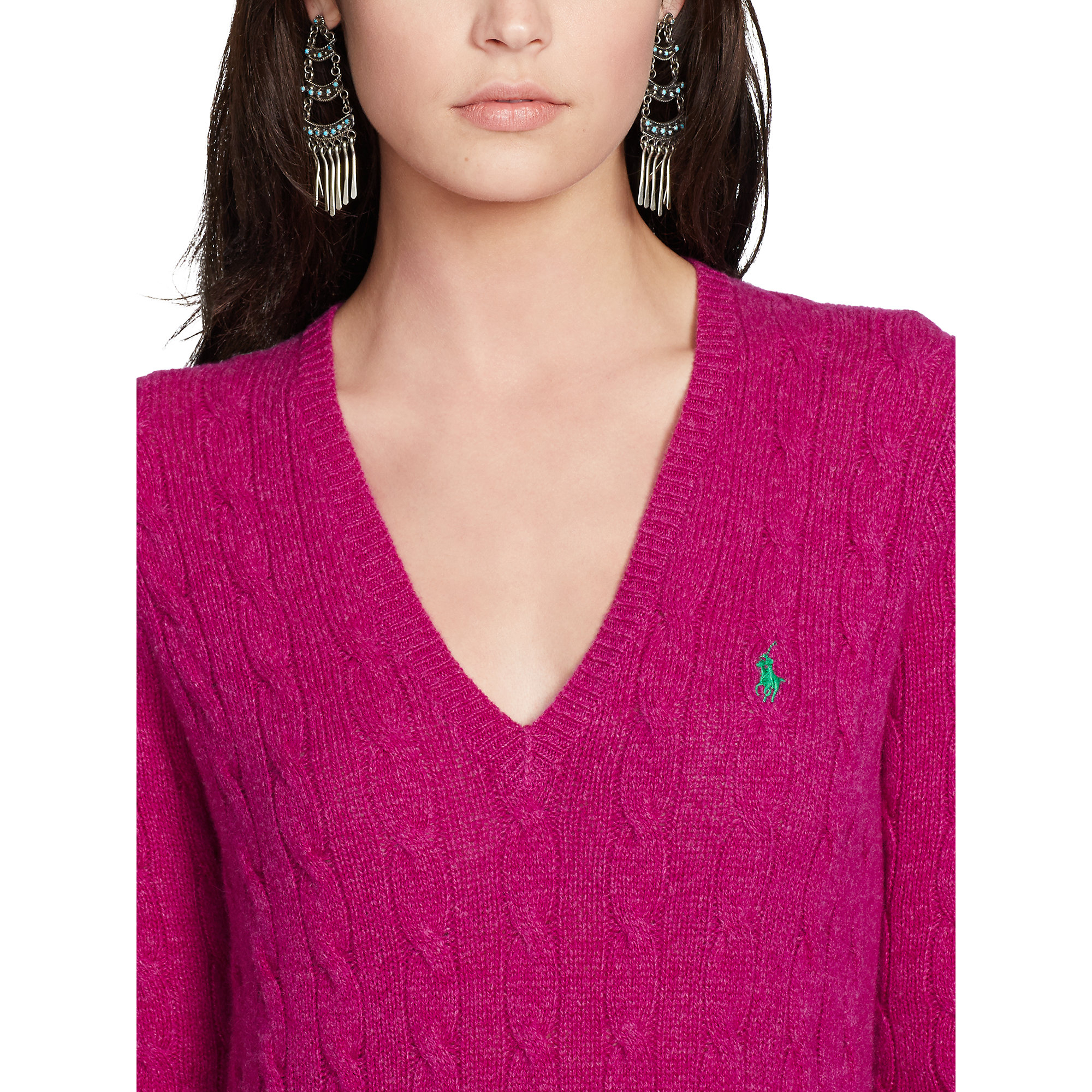 cbdb8efcf5c1a Lyst - Polo Ralph Lauren Cable-Knit V-Neck Sweater in Purple