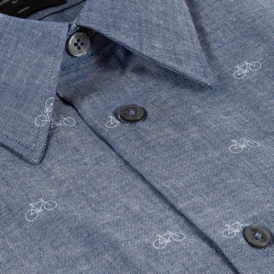 Paul Smith Mens Tailored Fit Bicycle Print Chambray Shirt In Blue
