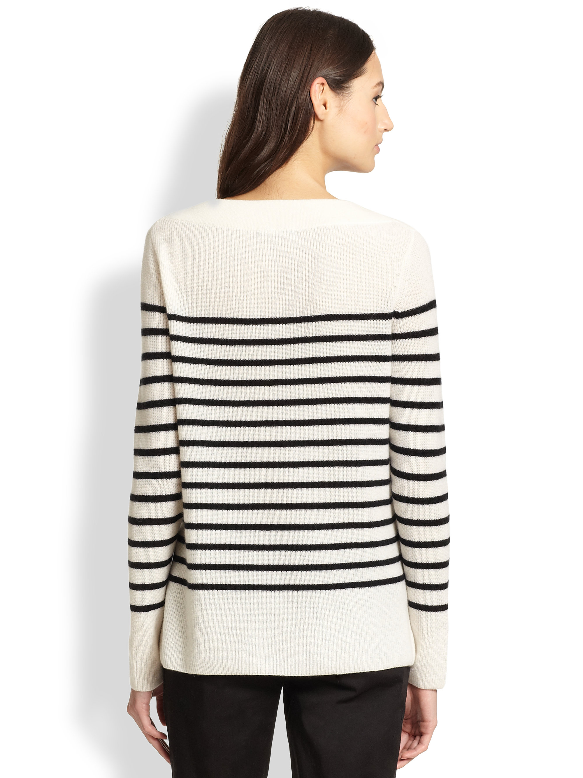 Vince Breton-Striped Ribbed Cashmere Sweater in White | Lyst