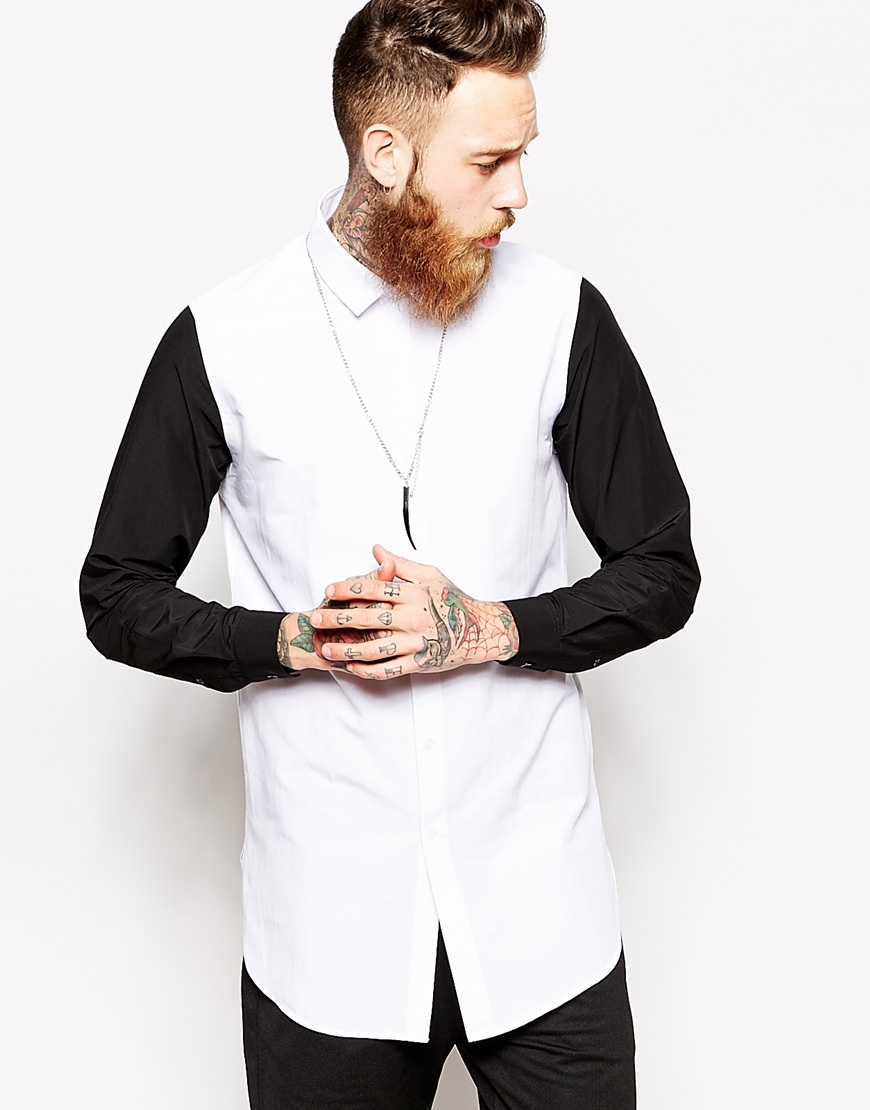 Asos Smart Shirt In Longline With Contrast Sleeves in Black for ...