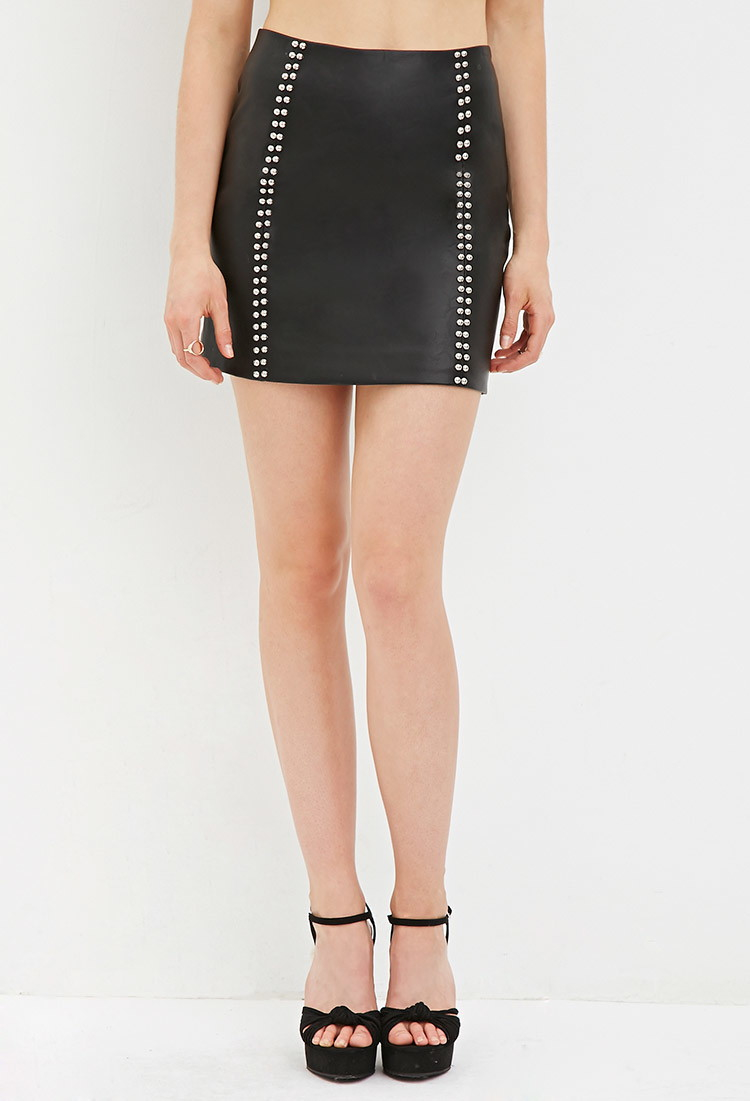 forever 21 studded faux leather skirt in black lyst
