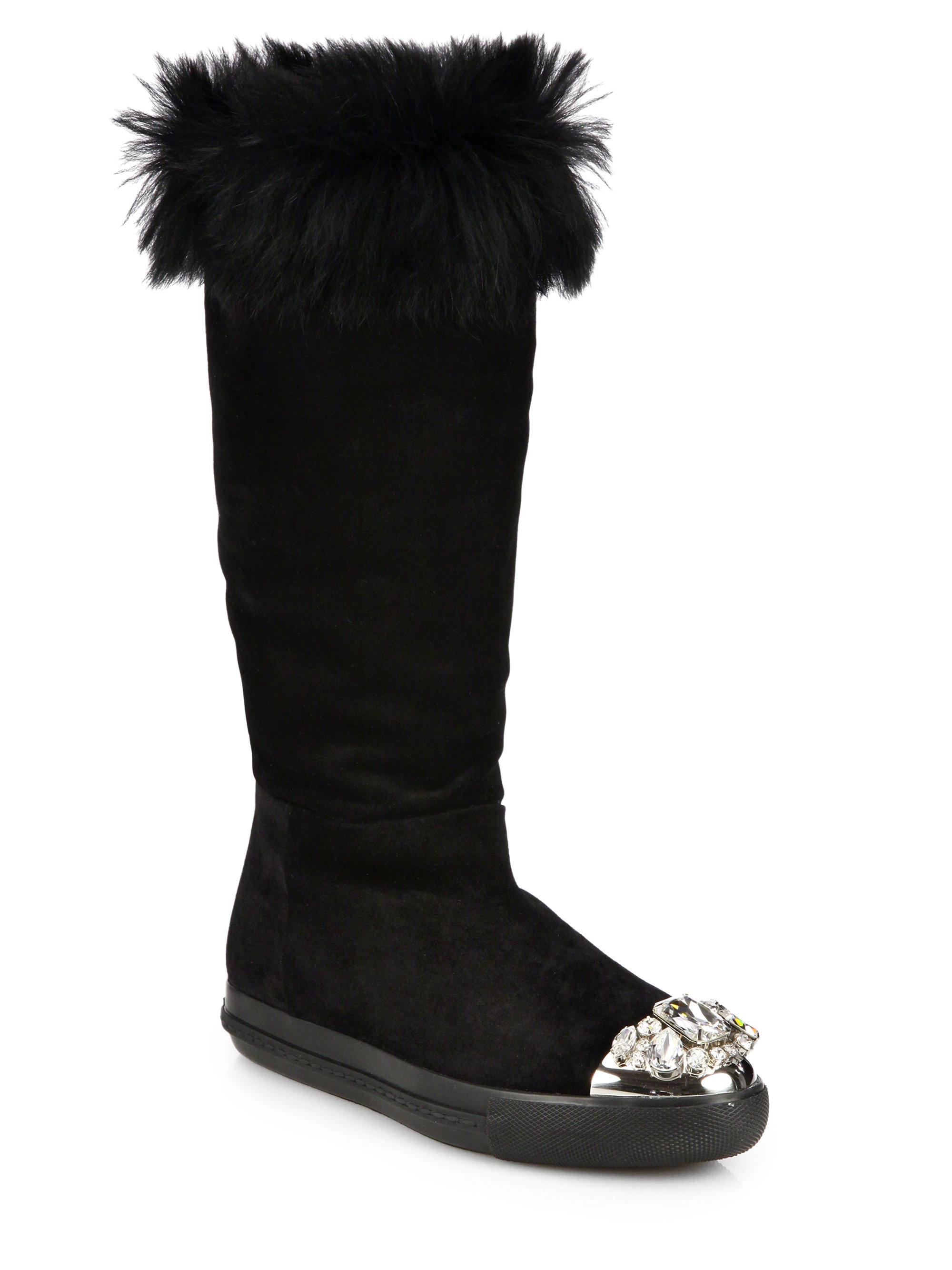 Miu Miu Fur-lined suede boots mAVwiUe