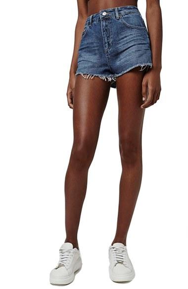 Topshop 'mom' High Rise Cutoff Jean Shorts in Blue | Lyst