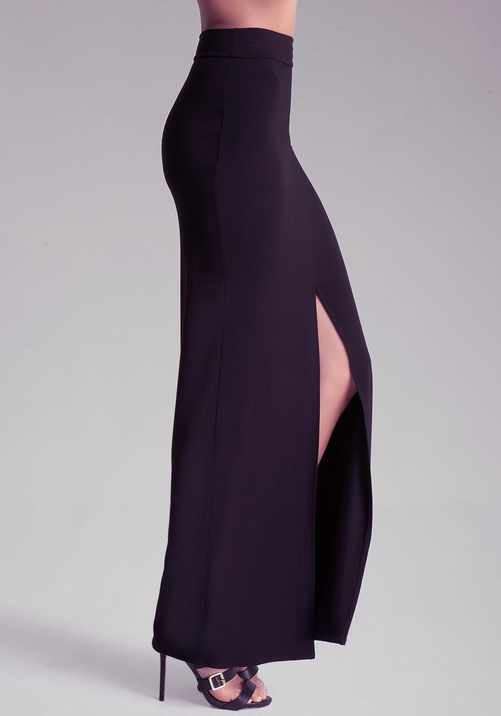 bebe front slit maxi skirt in black lyst