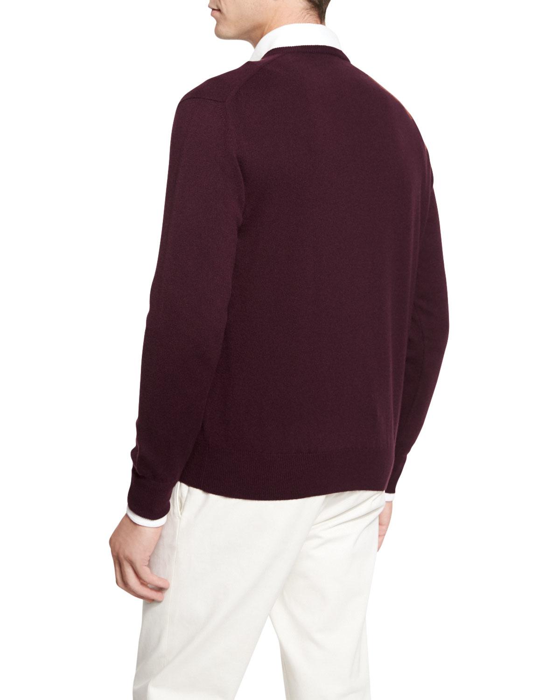 Lyst Loro Piana Baby Cashmere V Neck Sweater In Purple
