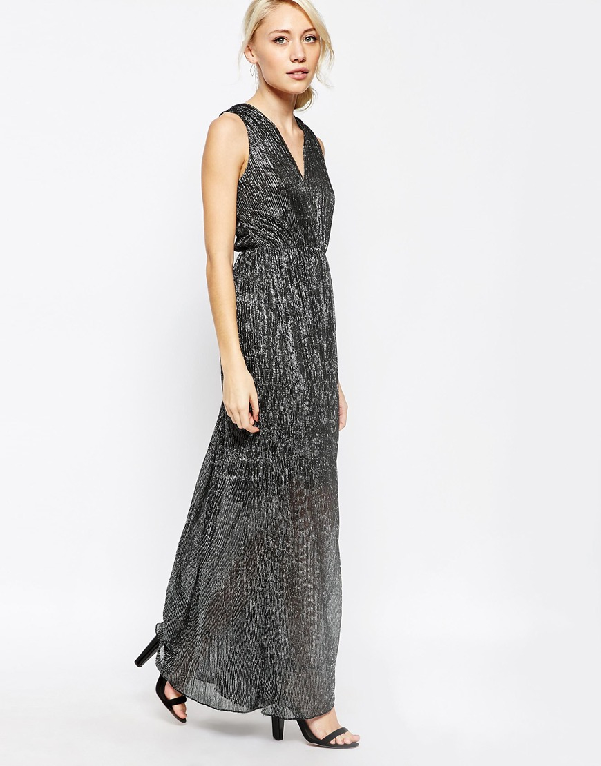 Vila Pleated Maxi Dress in Gray  Lyst