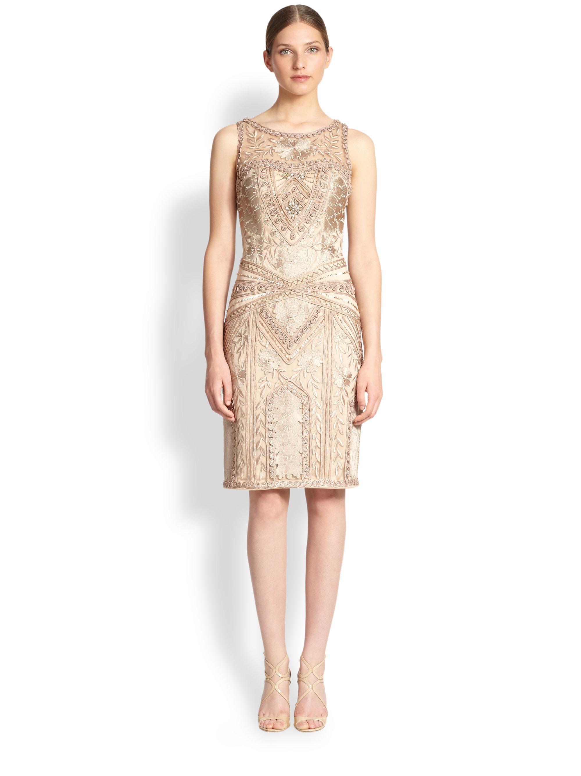 3ebcdba8057 Lyst - Sue Wong Embroidered Sheath Dress in Metallic
