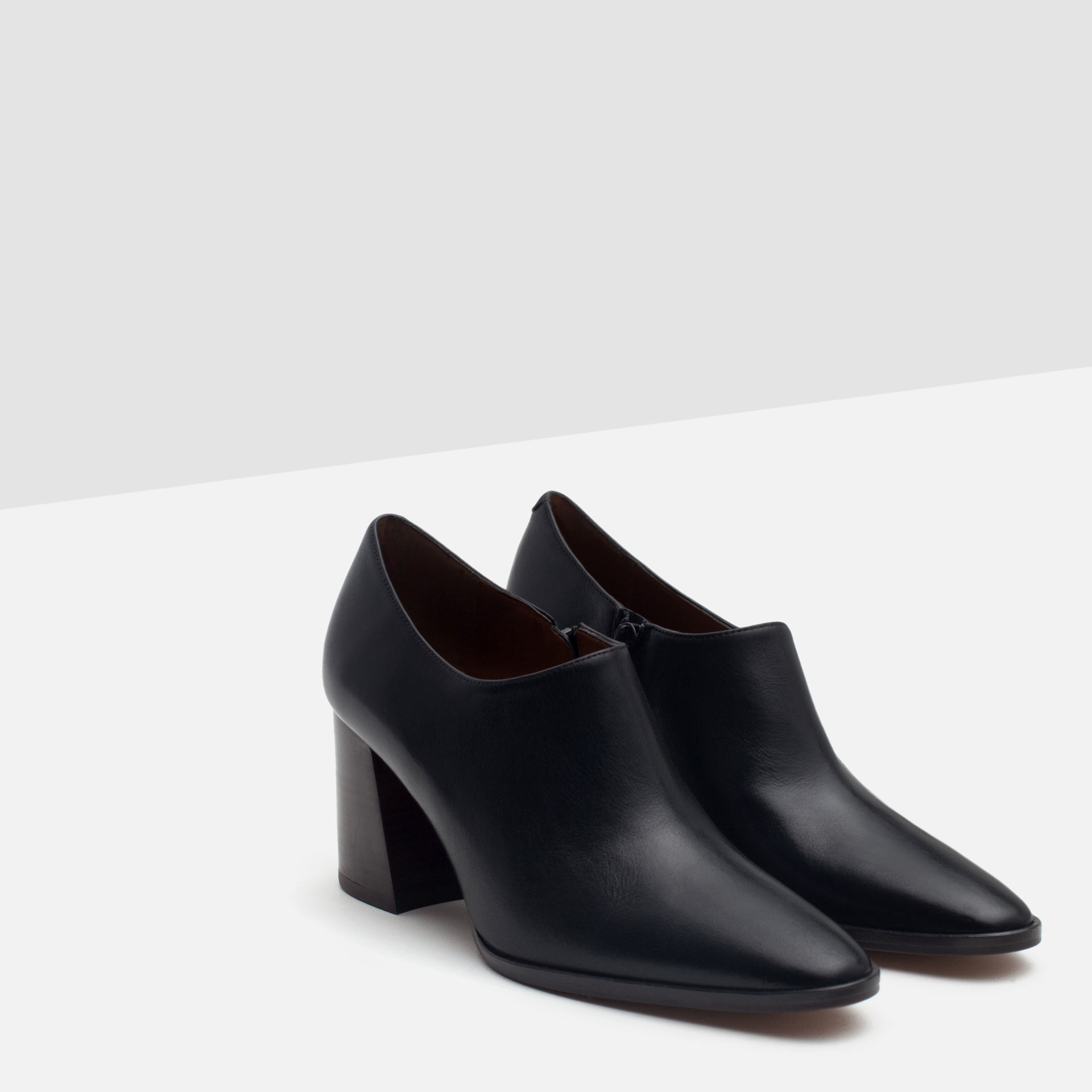 Cool Zara Leather Ankle Boot Style Court Shoe In Black  Lyst