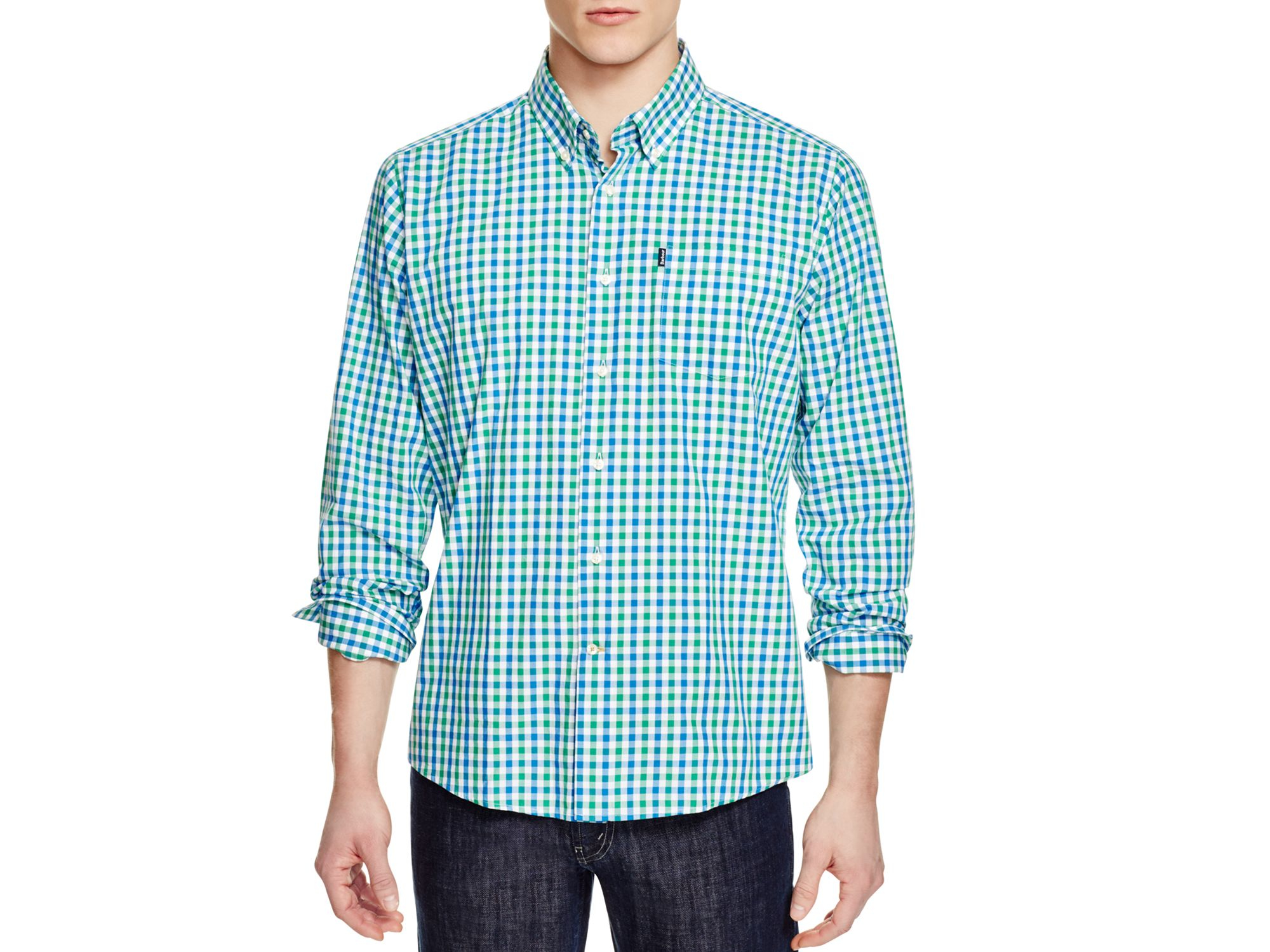 Barbour Bruce Gingham Slim Fit Button Down Shirt in Blue for Men ...