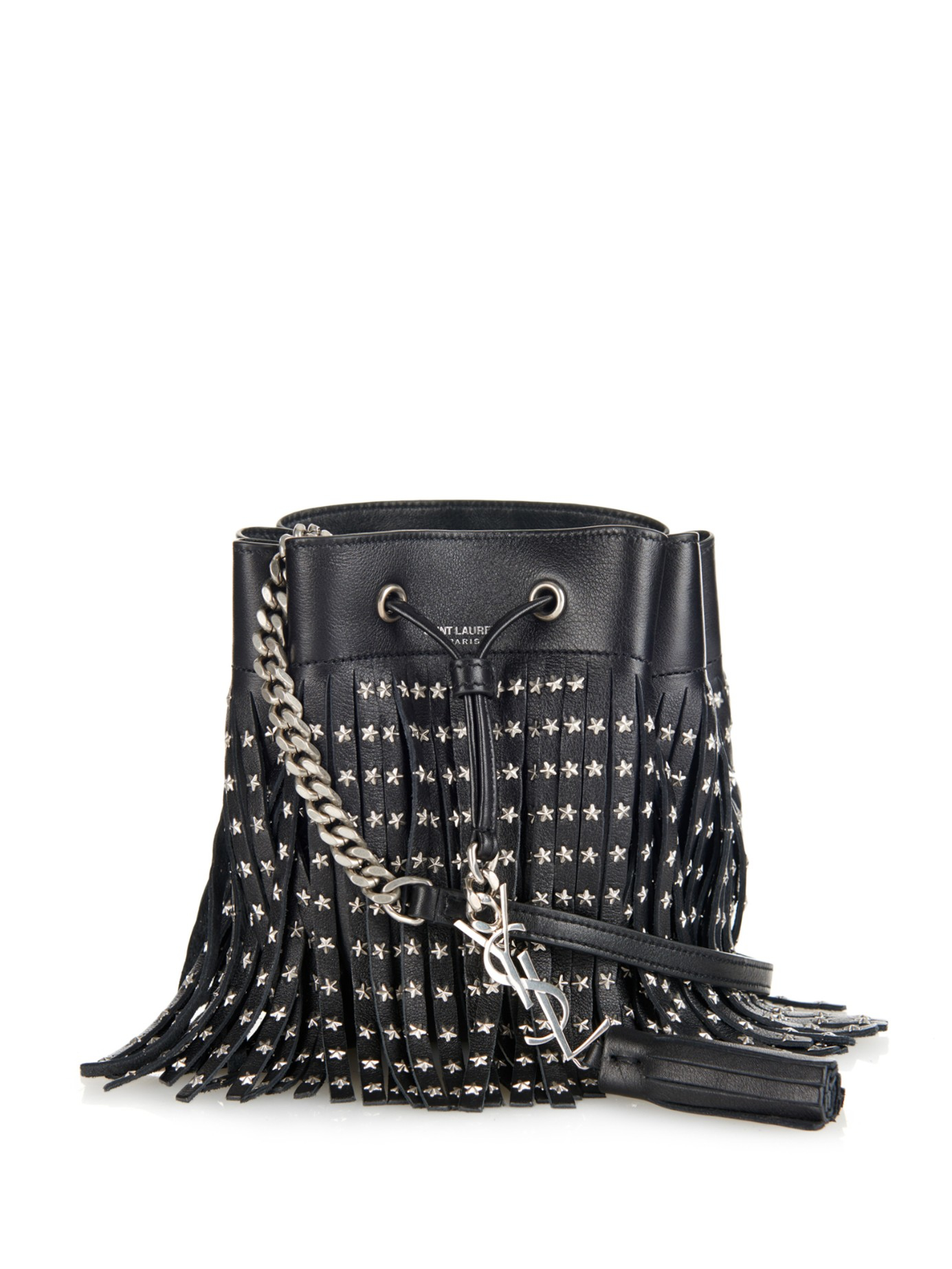 Lyst - Saint Laurent Bourse Mini Fringed Leather Cross-body Bag in Black 54f835eb1dedd