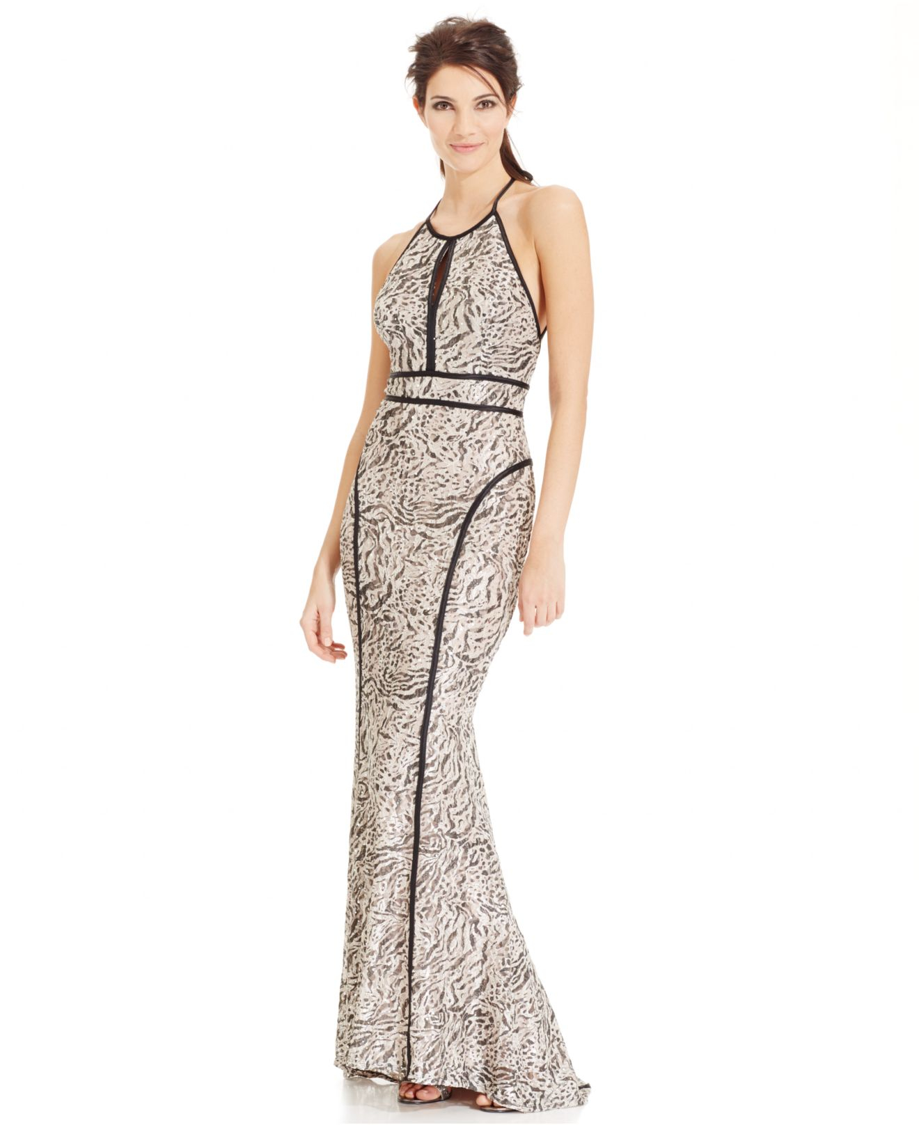 Lyst - Xscape Animal-print Lace Open-back Halter Gown in Metallic